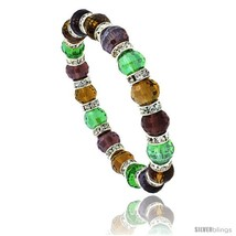 7 in Multi Color Faceted Glass Crystal Bracelet on Elastic Nylon Strand (  - $12.25