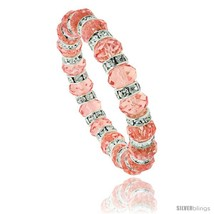 7 in. Pink Topaz Color Faceted Glass Crystal Bracelet on Elastic Nylon Strand,  - $12.25