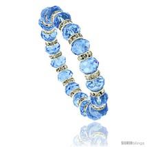 7 in. Blue Topaz Color Faceted Glass Crystal Bracelet on Elastic Nylon Strand,  - $12.25