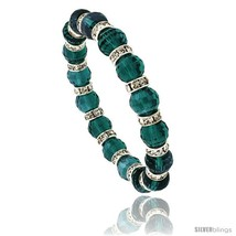 7 in. Emerald Color Faceted Glass Crystal Bracelet on Elastic Nylon Strand, 3/8  - $12.25