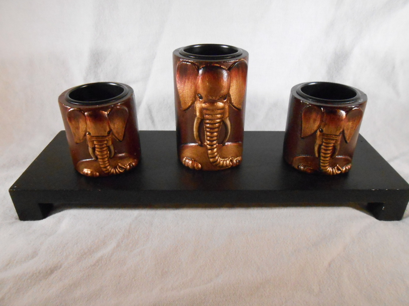 Primary image for Wooden ELEPHANT Trio CANDLEHOLDERS Carved Elephants (#14654)