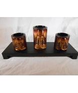 Wooden ELEPHANT Trio CANDLEHOLDERS Carved Elephants (#14654) - $20.00