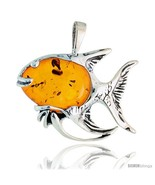 Sterling Silver Fish Russian Baltic Amber Pendant w/ Cabochon Cut Stone,... - $118.80