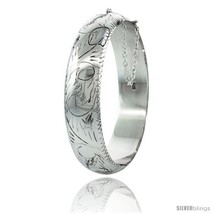 Sterling Silver Bangle Bracelet Floral Pattern Hand Engraved Thick 5/8 in  - $140.72