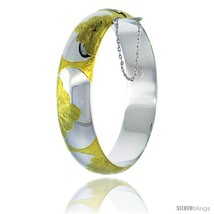 Sterling Silver Bangle Bracelet 2 Tone Floral Pattern Engraved Thick 1/2 in  - $184.15