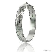 Sterling Silver Bangle Bracelet Braid Pattern Hand Engraved 1/2 in  - $100.23