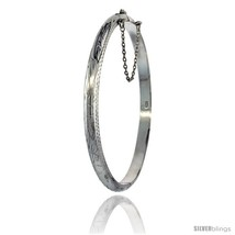 Sterling Silver Bangle Bracelet Floral Pattern Hand Engraved Thin 3/16 in  - $46.57