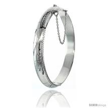Sterling Silver Bangle Bracelet Floral Pattern Hand Engraved 3/8 in  - $85.06