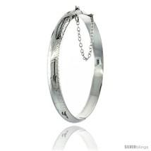 Sterling Silver Bangle Bracelet Floral Pattern Hand Engraved 1/4 in  - $66.83