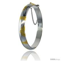 Sterling Silver Bangle Bracelet 2 Tone Floral Pattern Engraved 3/8 in  - $106.27
