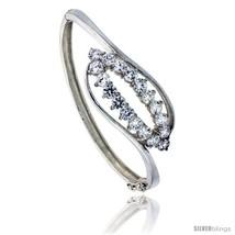 Sterling Silver Bangle Bracelet High Polished Triple Heart w/ Cubic Zirconia  - $137.03