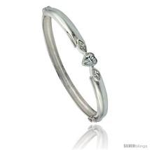 Sterling Silver Bangle Bracelet High Polished Heart w/ Cubic Zirconia Stones,  - $119.47