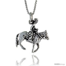 Sterling Silver Horse & Rider Pendant, 7/8 in. (22 mm)  - $35.12