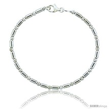 Length 7 - Sterling Silver Corrugated & Elongated Bead Bracelet), 1/8 in. (3  - $46.74