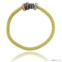 Sterling Silver 7 in. Stretchable Bangle Bracelet in Yellow Gold Finish w/  - $112.05