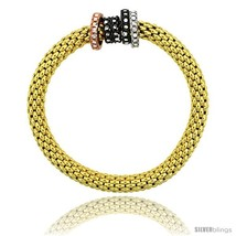 Sterling Silver 7 in. Stretchable Bangle Bracelet in Yellow Gold Finish w/  - $256.01
