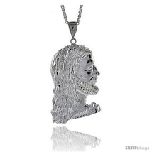 Sterling Silver Jesus Face Pendant, 3 1/8in  (83 mm)  - $256.37