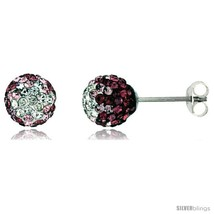Sterling Silver Crystal Disco Ball Stud Earrings (8mm Round), Clear & Pink  - $17.65