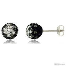 Sterling Silver Crystal Disco Ball Stud Earrings (8mm Round), Clear &  - $17.65