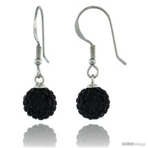 Sterling Silver 8mm Round Black Disco Crystal Ball Fish Hook Earrings, 1 1/4  - $29.70
