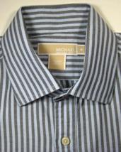 MICHAEL KORS Med Rich Gray Blue Stripe Dress Shirt RARE - €85,87 EUR