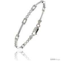 Length 7 - Sterling Silver Italian Binario ( BAR ) Bracelet 7in  and 8in... - $39.91
