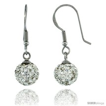Sterling Silver 8mm Round White Disco Crystal Ball Fish Hook Earrings, 1 1/4  - $29.70