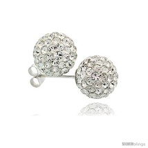Sterling Silver White Crystal Ball Stud Earrings  - $23.83