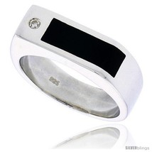 Size 10 - Sterling Silver Gents' Ring w/ a Rectangular Black Onyx & a Cubic  - $88.74