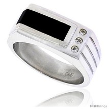 Size 11 - Sterling Silver Gents' Ring w/ a Rectangular Black Onyx & 3 Tiny  - $131.37