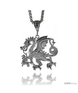 Sterling Silver Dragon Pendant, 1 5/8in  (41 mm) tall -Style  - $90.48