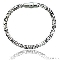 Sterling Silver Flexible Bangle Bracelet w/ Magnetic Clasp in White Gold  - $94.35