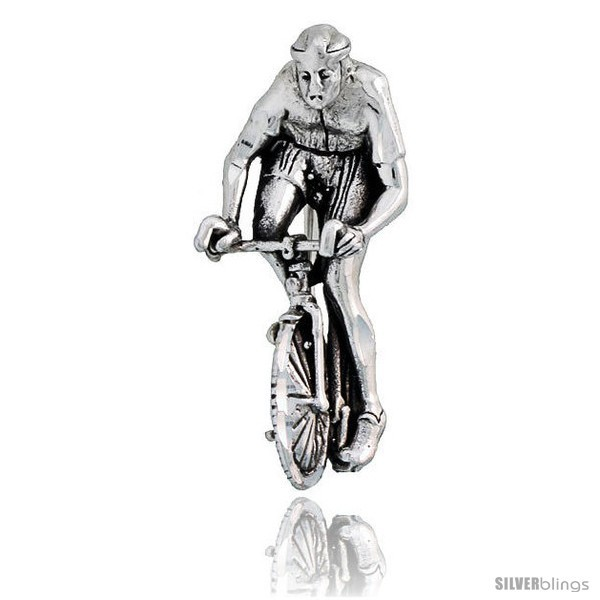 Sterling Silver Bicyclist Brooch Pin, 1 1/4in  (32 mm)  - $34.12