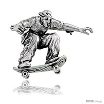 Sterling Silver Skateboarder in Sidewalk Surferin  Brooch Pin, 1 1/8in  (29 mm)  - $53.92