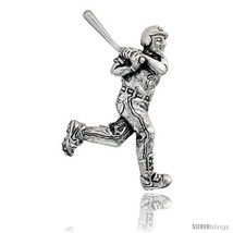 Sterling Silver Baseball Player in Batterin  Brooch Pin, 1 7/16in  (37 mm)  - $38.26