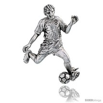 Sterling Silver Soccer Player in Striker / Forwardin  Brooch Pin, 1 5/8in  (42 m - $66.16