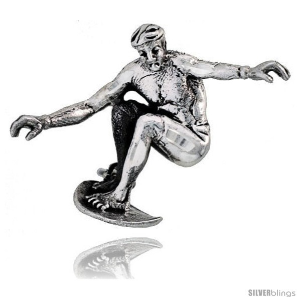 Primary image for Sterling Silver Surfer Brooch Pin, 1 1/16in  (27 mm)