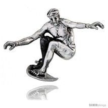 Sterling Silver Surfer Brooch Pin, 1 1/16in  (27 mm)  - $49.06