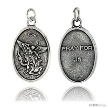 Sterling Silver St. Michael Oval Medal Pendant 15/16in  X 5/8in  (24 mm X 16  - $36.99