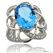 An item in the Jewelry & Watches category: Size 5.5 - 14k White Gold Natural Swiss Blue Topaz Floral Design Ring 13x 19 mm