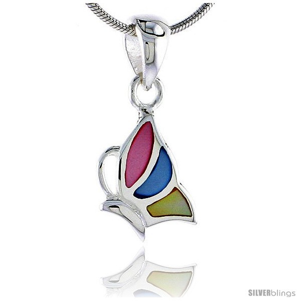 Primary image for Sterling Silver Half Butterfly Pink, Blue & Light Yellow Mother of Pearl Inlay