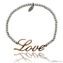 Sterling Silver 7 in. Ball Bead Link Bracelet w/ Rose Gold Finish LOVE Plate,  - $47.94