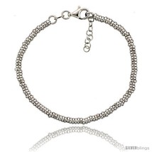Sterling Silver Doughnut Hole 7 in. Bead Bracelet w/ 1/2 in. Extension in White  - $71.94