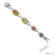 Sterling Silver & Rhodium Plated Ladies' 7 1/4in  Bracelet, w/ Pear Cut Cubic  - $174.70