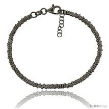 Sterling Silver Doughnut Hole 7 in. Bead Bracelet w/ 1/2 in. Extension in Black  - $71.94