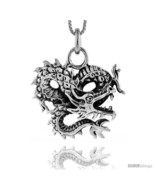 Sterling Silver Chinese Dragon Pendant, 1 1/8 in tall -Style  - $89.68