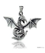 Sterling Silver Dragon Pendant, 2 in (50 mm)  - $84.61