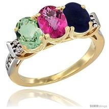 Size 7.5 - 10K Yellow Gold Natural Green Amethyst, Pink Topaz & Lapis Ring  - $546.75