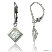 Sterling Silver 6mm Square CZ Lever Back Earrings 1 1/16 in. (27 mm)  - $43.20