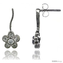Sterling Silver CZ Flower Post Earrings 11/16 in. (17 mm)  - $29.94